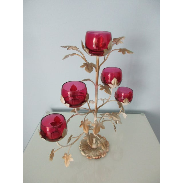 1960s Mid-Century Modern Candelabra With Rose Colored Glass For Sale - Image 5 of 13