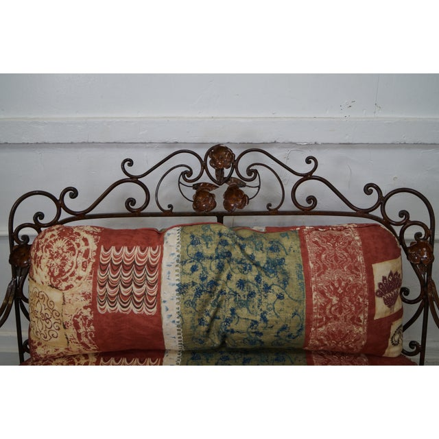 Ornate Wrought Iron Rococo Style Settee With Cushions For Sale - Image 5 of 10