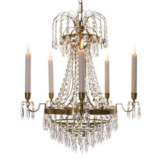 Crystal & Brass Chandelier For Sale