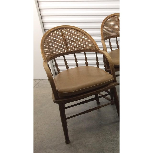 Mid-Century Modern Antique Captains Caning Back Chairs - Set of 4 For Sale - - Antique Captains Caning Back Chairs - Set Of 4 Chairish