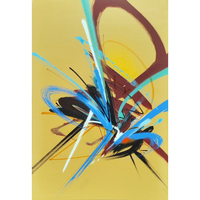 An original painting by Cleveland-based abstract artist, Bob Peck made with spray paint, marker, and acrylics on canvas....