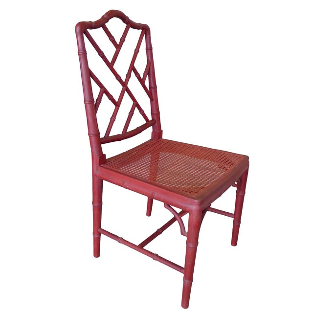 1960s Red Chinoiserie Bamboo-Style Chair - Image 2 of 7