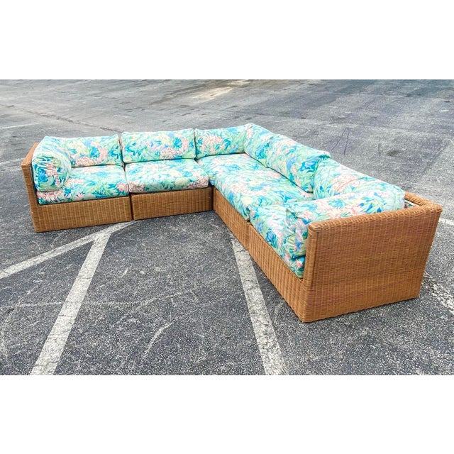 Wood Vintage Coastal Woven Rattan Printed Sectional For Sale - Image 7 of 13