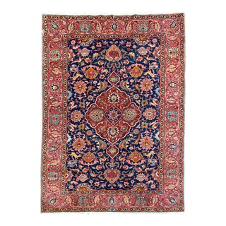 1930s Vintage Persian Tabriz Animal Rug - 7′4″ × 10′