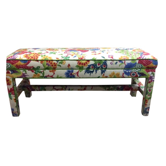 Upholstered Bench in Peacock Print Linen - Image 1 of 7