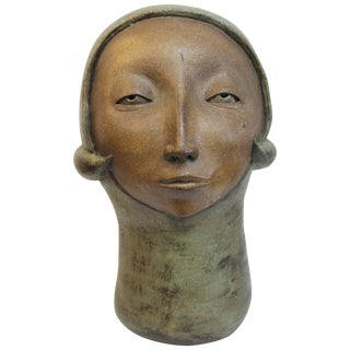Monumental Modernist Stoneware Sculpture of a Female Head For Sale
