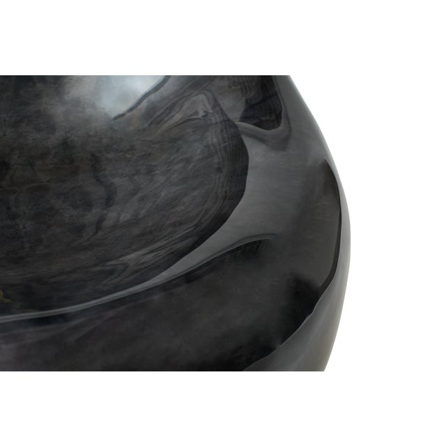 """Sylvan S.F. """"Parchment Egg Chair,"""" Lacquered Goatskin, Charcoal Finish For Sale - Image 4 of 5"""