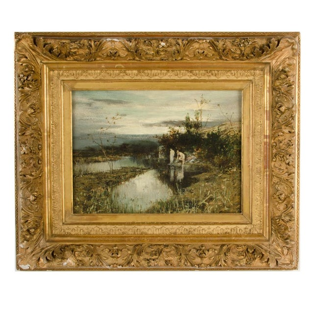 """19th Century """"Quick Dip"""" Figurative Oil Painting, Framed For Sale - Image 13 of 13"""