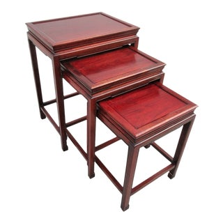 1950s Ming Rosewood Nesting Tables - Set of 3 For Sale