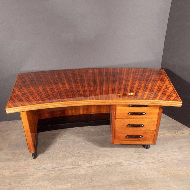 Rosewood Art Deco Machine Age Bow Front Bookmatched Rosewood, Walnut & Black Lacquer Desk For Sale - Image 7 of 11