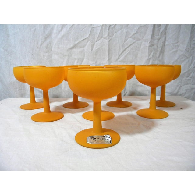 Mid-Century Modern Vintage Frosted Champagne Coupes - Set of 8 For Sale - Image 3 of 4