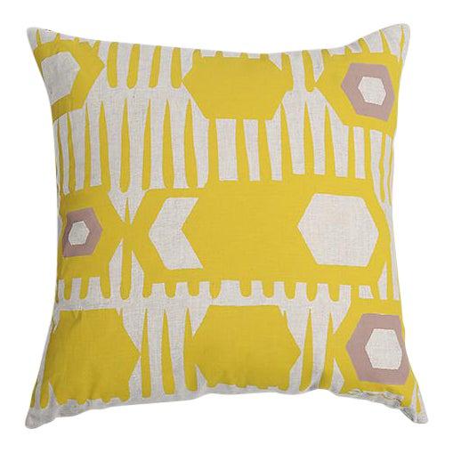 Erin Flett Bold Graphic Linen Pillow in Goldenrod - Image 1 of 3