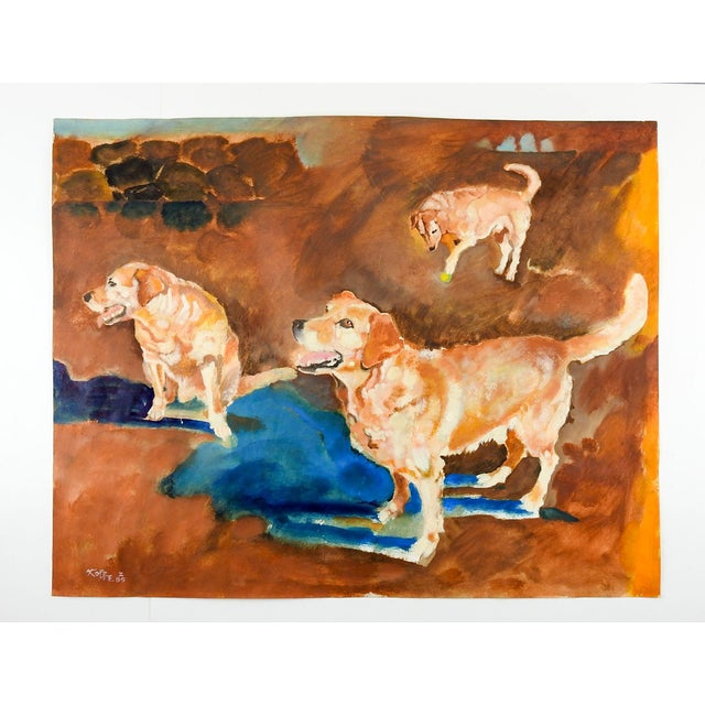 Rustic 1980s Impressionist Yellow Lab Dog Study Painting by William Kolbe For Sale - Image 3 of 4