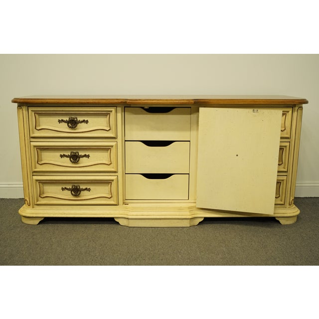 Late 20th Century 20th Century French Provincial Stanley Furniture Cream Painted Triple Door Dresser For Sale - Image 5 of 12