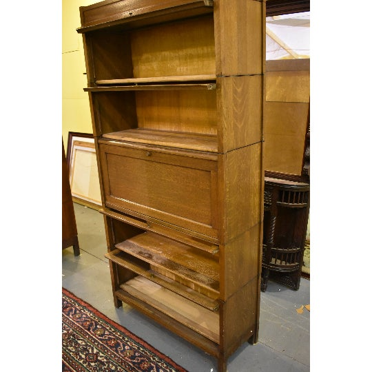 Signed Antique Craftsman Mission Oak 5 Stack Barrister or Lawyer's Bookcase  With Desk-Gunn - - Signed Antique Craftsman Mission Oak 5 Stack Barrister Or Lawyer's