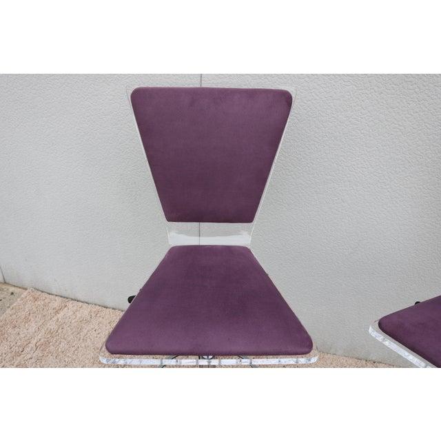 Metal Purple Suede & Acrylic Shlomi Haziza Barstools - A Pair For Sale - Image 7 of 13