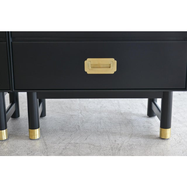 1960s Black Lacquer and Brass Campaign Nightstands - a Pair - Image 7 of 11