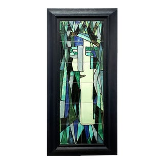 Harris Strong Abstract Handpainted Tile Panel of a Woman For Sale