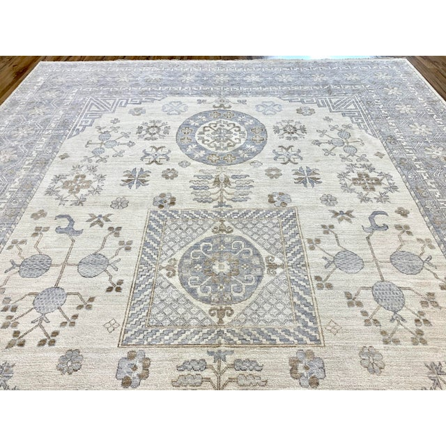 Transitional Ivory Field Khotan Rug- 10'x14' For Sale - Image 3 of 13