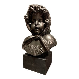 Vintage 1970s Austin Prod Bronze Painted Chalkware Bust Girl With Headscarf For Sale