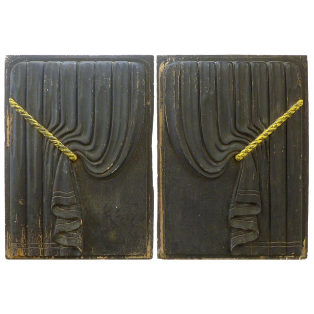 Early 20th Century Pair of Early 20th Century Carved Wood Funeral Coach Curtain Panels For Sale - Image 5 of 5