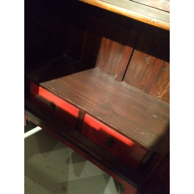 Antique Chinese Red & Black Armoire - Image 8 of 8