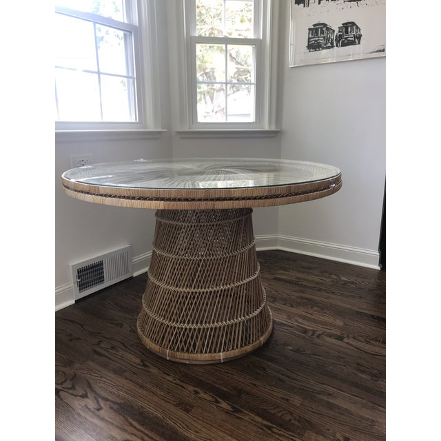 1960s Boho Vintage Wicker Dining Table For Sale - Image 5 of 5