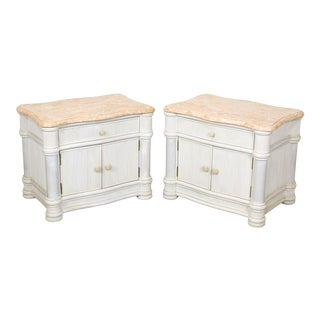Mid Century Reed Nightstand, Tessellated Top Nightstands, Hampton's Palm Beach Nightstands For Sale