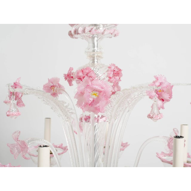 Totally restored and rewired 1950s Venetian pink and clear glass six-arm chandelier. Originally hung in the master bedroom...