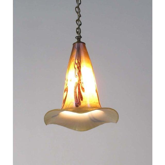 Art Nouveau Signed Art Nouveau Sculptural Glass Pendant Light For Sale - Image 3 of 10