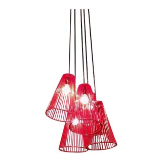 Red Cage Pendant Chandelier