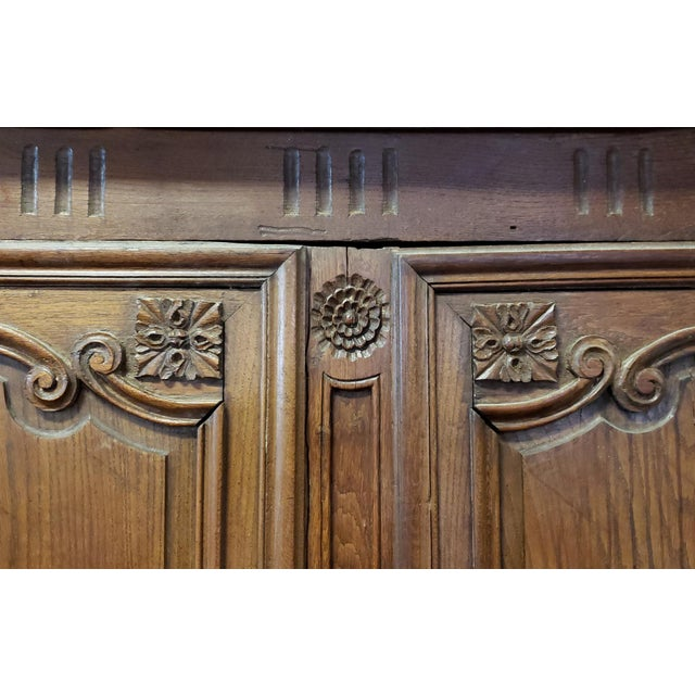 Antique 18th Century French Normandy Country Double Door Wedding Armoire Cabinet C1790 For Sale - Image 11 of 13