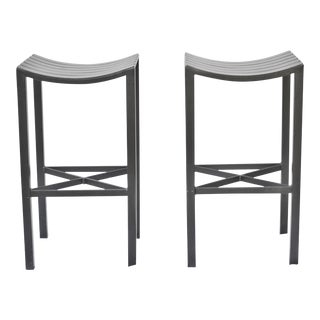 A Pair of Charleston Forged Iron Parsons Stools For Sale