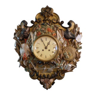 Antique French Cast Iron Cartel Clock For Sale
