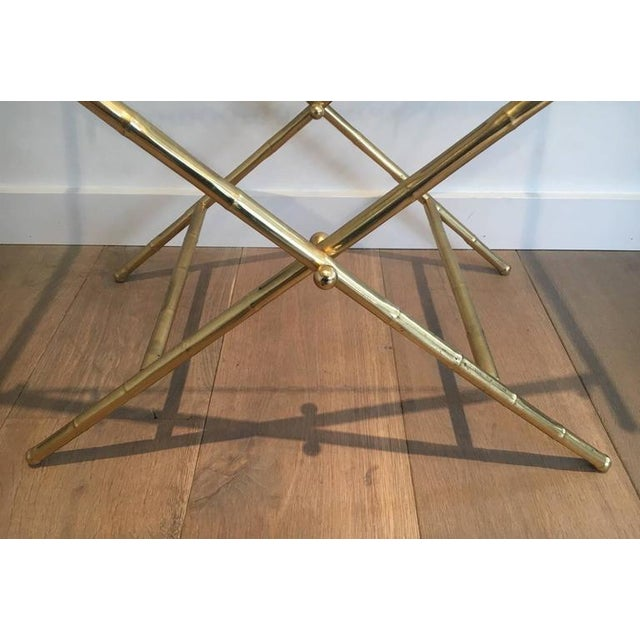French Brass Tray Table with a Lacquer and Gold Metal Top - Image 10 of 11