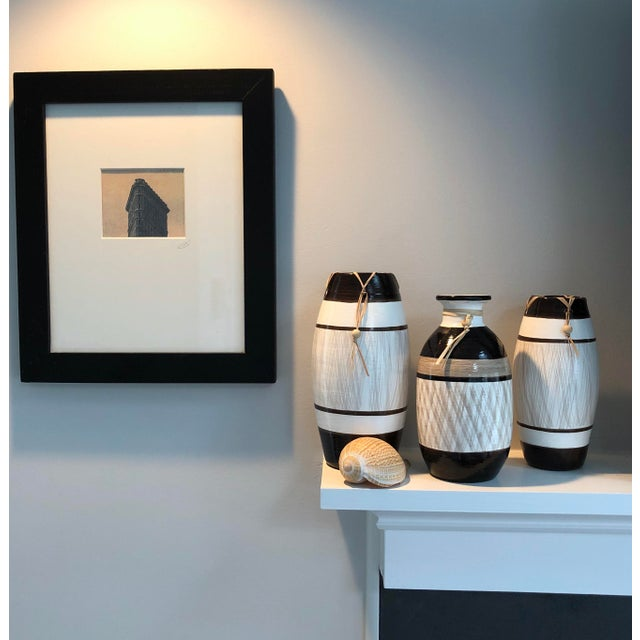 White Group of Brazilian Vases With Raffia and Bone Bead Detail For Sale - Image 8 of 12
