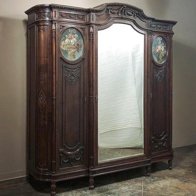 Louis XVI 19th Century Italian Walnut Louis XVI Triple Armoire For Sale - Image 3 of 13