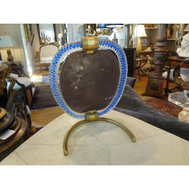 1940s Venini Style Murano Glass and Bronze Vanity Mirror For Sale In Houston - Image 6 of 9