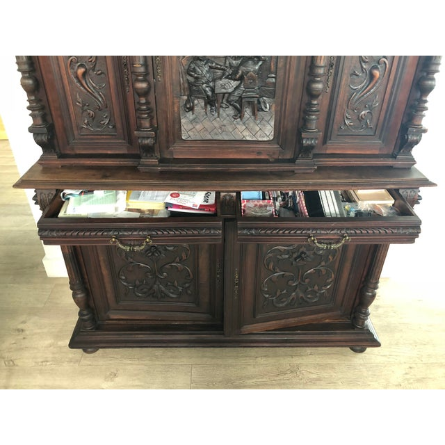 Brown 1800s Carved Antique Library Hutch For Sale - Image 8 of 11