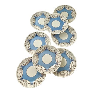 Blue Cumbow Lustreware Dessert Plates - Set of 8 For Sale