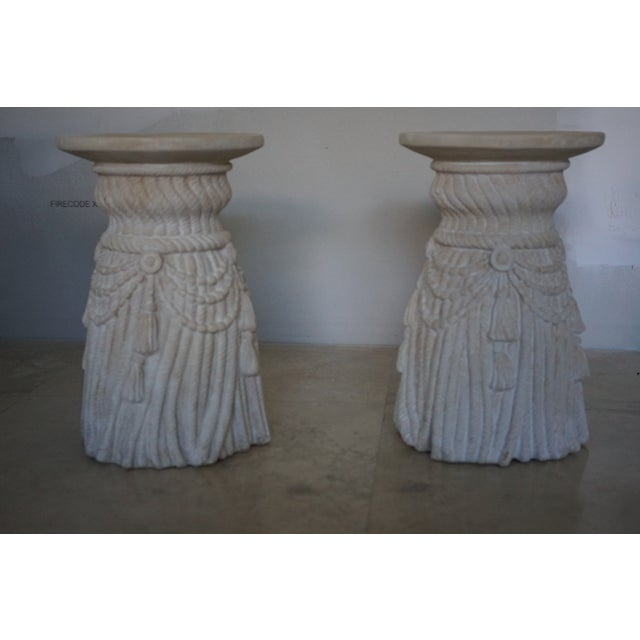 Vintage faux rope side tables/pedestals with tassels. Beautiful details. A pair in excellent condition.