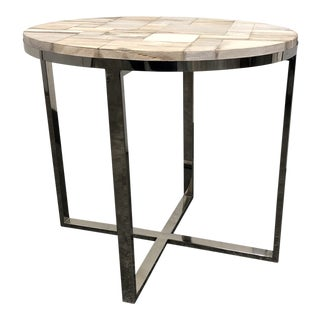 Palecek Chrome Base Petrified Wood Side Table For Sale
