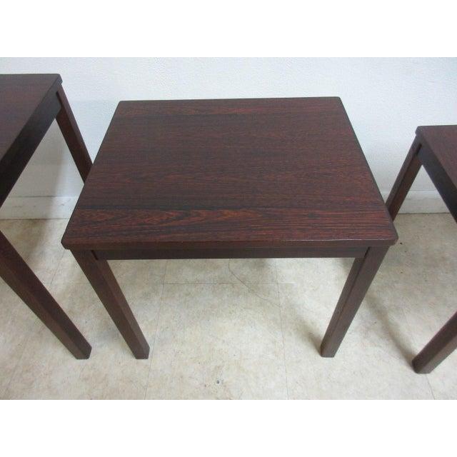 Vintage Danish Modern Rosewood Nesting Tables - Set of 3 For Sale In Philadelphia - Image 6 of 9