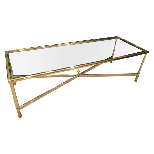 Large Hollywood Regency Brass & Glass Chrome Table - Image 1 of 5