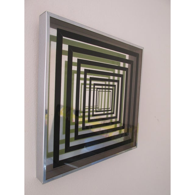 Modern Vintage Vasarely Style Mirrored Op Art For Sale - Image 3 of 4