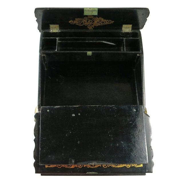 Mid 19th Century Vintage Victorian Papier Mâché Painted Inlaid Lap Desk For Sale - Image 4 of 6