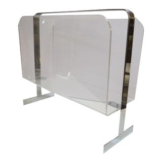 1970s Vintage Mid Century Modern Milo Baughman Lucite and Chrome Magazine Rack, C1970. For Sale