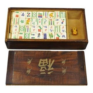 Vintage Mah Jong 152 Tile Bamboo Bone Game Set in Wooden Box For Sale