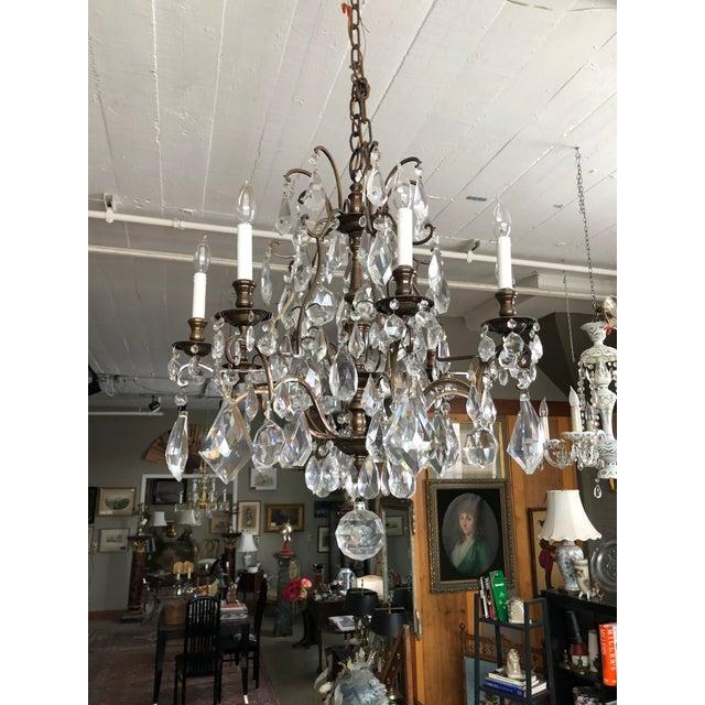 1930s Vintage Lead Crystal 8 Light Chandelier For Sale - Image 12 of 12