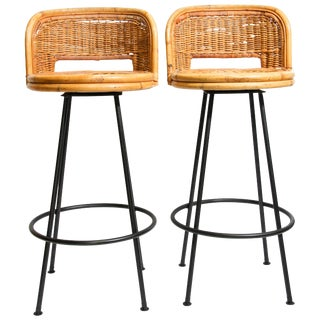 Pair of Vintage Swivel Woven Rattan Bar Stool, 1960s For Sale
